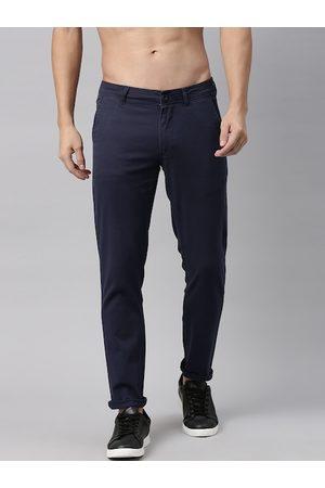 Roadster Men Navy Blue Regular Fit Solid Chinos