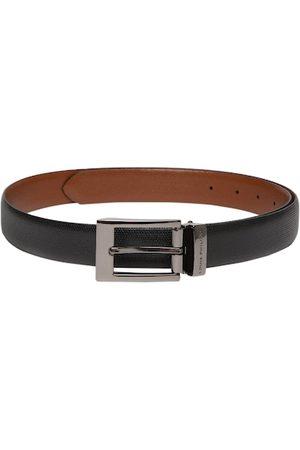 Louis Philippe Men Tan Brown & Black Textured Reversible Leather Belt
