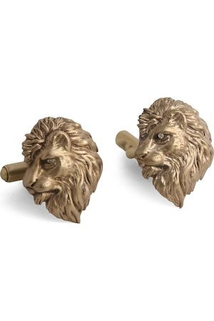 COSA NOSTRAA Antique Gold-Toned Side Lion Textured Cufflinks