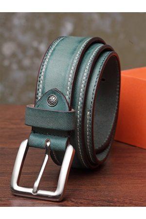 Teakwood Leathers Men Green Solid Belt