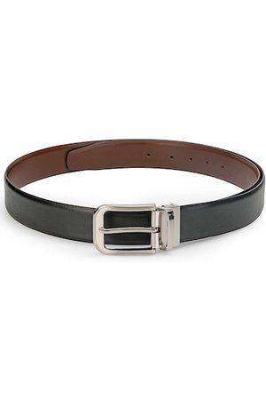 Teakwood Leathers Men Black & Brown Reversible Leather Textured Belt