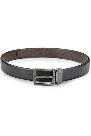 Teakwood Leathers Men Black & Brown Textured Reversible Leather Belt
