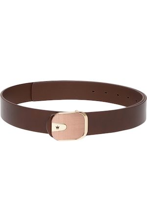 Louis Philippe Men Brown Solid Leather Belt