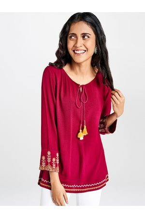 Global Desi Maroon Solid Tie-Up Neck Regular Top with Embroidery