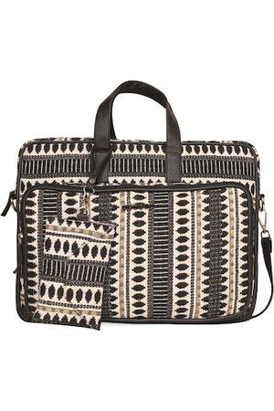 ASTRID Women Black & Cream-Coloured Textured 17 inch Laptop Bag