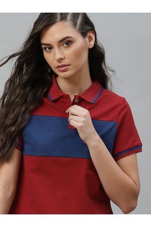 Roadster Women Red Colourblocked Polo Collar T-shirt