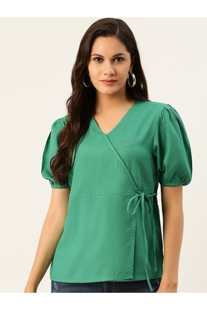 all about you Green Solid Wrap Top with Waist Tie-Up