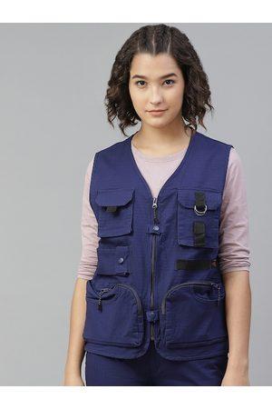HRX Women Navy Blue Outdoor Sporty Jacket