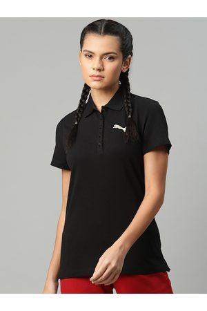 PUMA Women Black Solid Graphic Polo I T-shirt