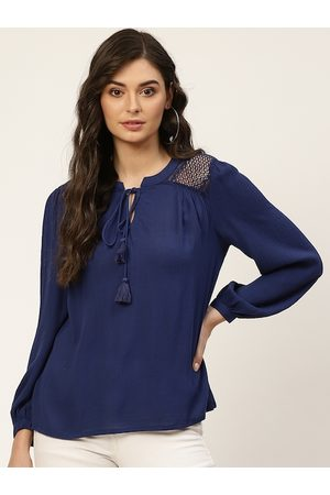 all about you Navy Blue Tie-Up Neck Regular Top