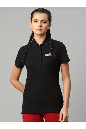 PUMA Women Black Solid Graphic Polo 3 T-shirt