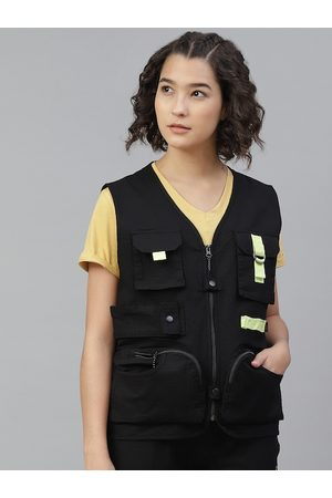 HRX Women Jet Black Solid Bio-Wash Outdoor Jacket