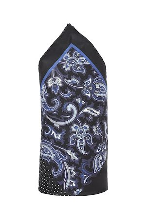 Louis Philippe Men Black & Blue Printed Silk Pocket Square