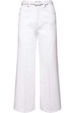 VALENTINO Cotton Denim Cropped Jeans W/belt