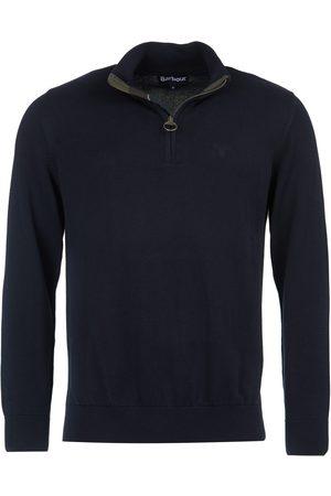 Barbour Cotton Half Zip Tartan Trim Sweater Navy
