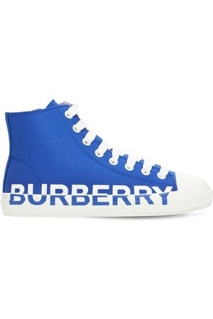 Burberry Logo Print Cotton Lace-up High Sneakers