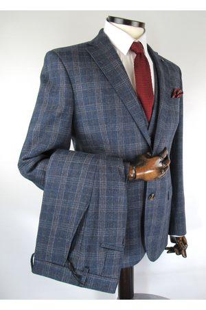 Torre Navy With Brown Prince Of Wales Check Tweed Suit Jacket