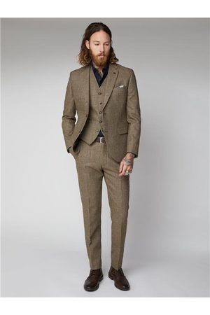 Gibson Men Jackets - Fawn Glen Check Suit Jacket