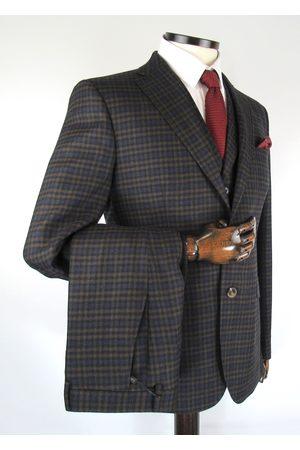 Torre Brown With Navy Gingham Check Tweed Suit Jacket