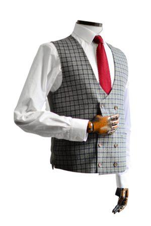Gibson Men Waistcoats - Cheyne Grey With Navy & Check Double-Breasted Suit Waistcoat