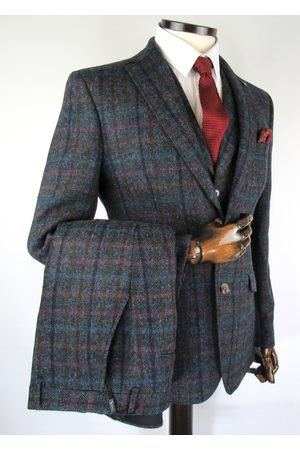 Torre Grey With Multicolour Check Tweed Suit Jacket