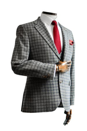 Gibson Men Jackets - Cheyne Grey With Navy & Check Suit Jacket