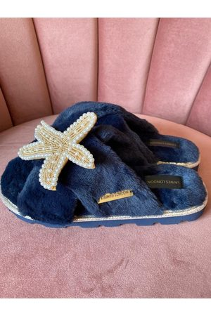 Laines London Ultralight Chic Navy Slippers / Sliders With Pearl & Gold Starfish Brooch