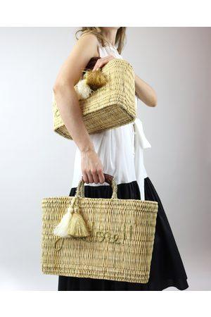 Women Beach Bags - J'Adore Woven Raffia Beach Bag