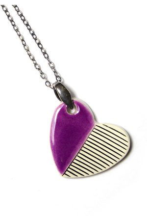 Isla Ibiza Clay Ceramic Medium Heart Necklace - Purple