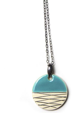 Isla Ibiza Women Necklaces - Clay Ceramic Small Round Pendant Necklace - Light