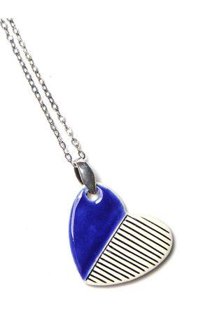 Isla Ibiza Clay Ceramic Medium Heart Necklace - Royal