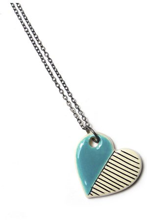 Isla Ibiza Clay Ceramic Small Heart Necklace - Pale