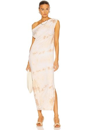 ENZA COSTA Silk Jersey Exposed Shoulder Dress in Sand Ionic