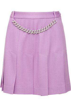 GIUSEPPE DI MORABITO Women Mini Skirts - Pleated Wool Flannel Mini Skirt W/chain