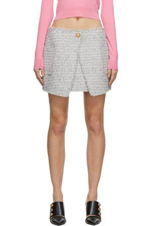 Balmain Grey Tweed Wrap Skirt