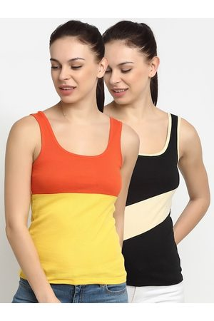 Friskers Women Multicoloured Pack of 2 Colourblocked Tank Top