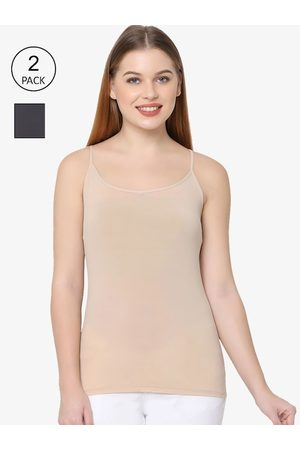 Soie Women Pack of 2 Black & Nude-Coloured Solid Camisoles