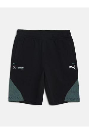PUMA Unisex Kids Black & Green Colourblocked Regular Fit Sports Shorts