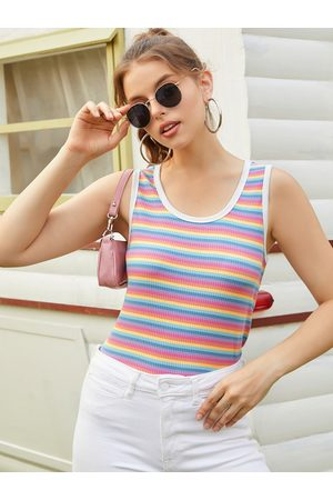 YOINS Striped Scoop Neck Ribbed Knit Sleeveless Tank Top