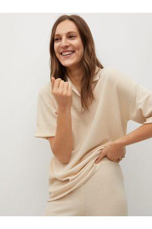 MANGO Women Beige Polo Collar Drop-Shoulder Sleeves T-shirt