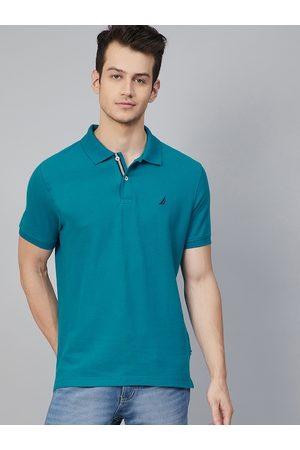 Nautica Men Teal Blue Solid Cotton Polo Collar T-shirt