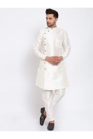 KLOTTHE Men Cream-Coloured Solid Straight Kurta & Pyjamas