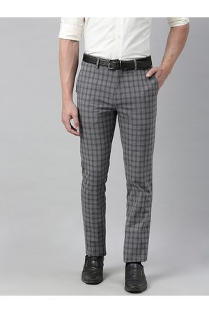 Louis Philippe Men Grey Super Slim Fit Checked Formal Trousers