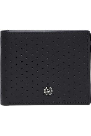Benetton Men Black Leather Two Fold Wallet