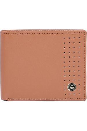 Benetton Men Tan Solid Genuine Leather Two Fold Wallet