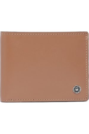 Benetton Men Brown Solid Leather Two Fold Wallet