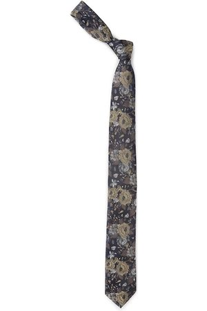 Louis Philippe Navy Blue & Olive Green Woven Design Broad Tie
