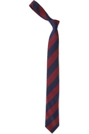 Louis Philippe Navy Blue & Maroon Silk Striped Broad Tie