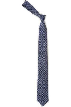 Louis Philippe Blue & White Woven Design Broad Tie