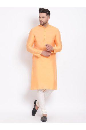Sanwara Men Orange Layered Straight Kurta with Churidar